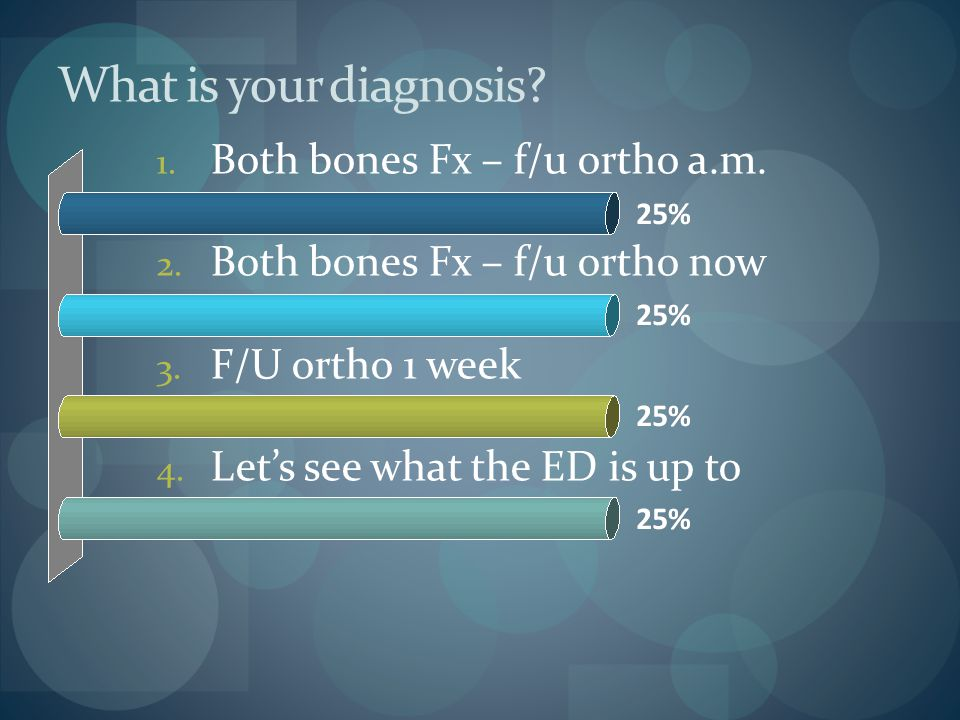 What is your diagnosis Both bones Fx – f/u ortho a.m.