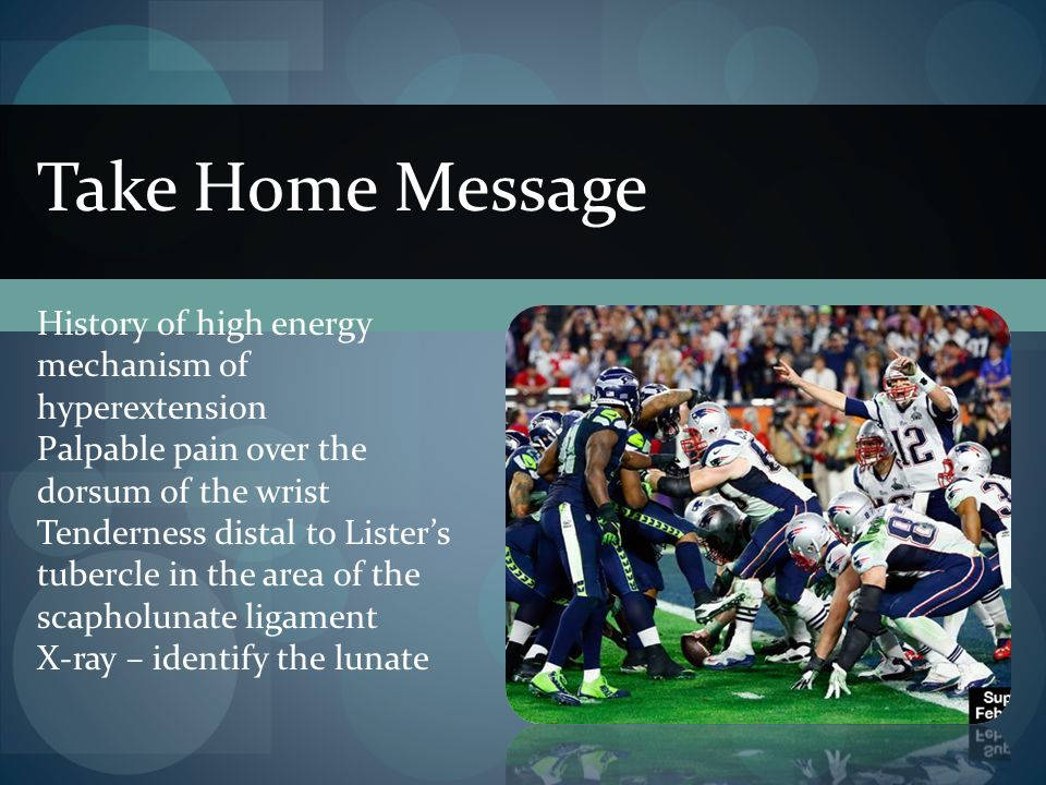 Take Home Message History of high energy mechanism of hyperextension