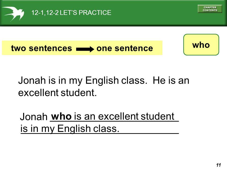 two sentences one sentence