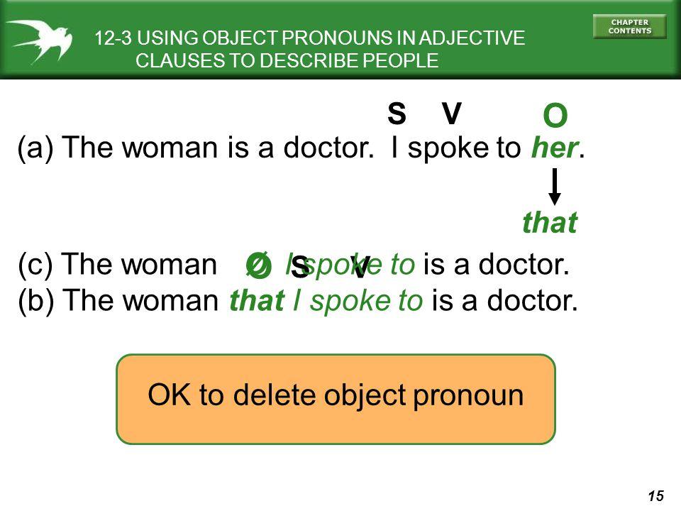 O O S V (a) The woman is a doctor. I spoke to her. that