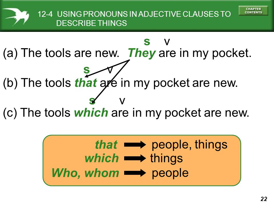 (a) The tools are new. They are in my pocket. s v