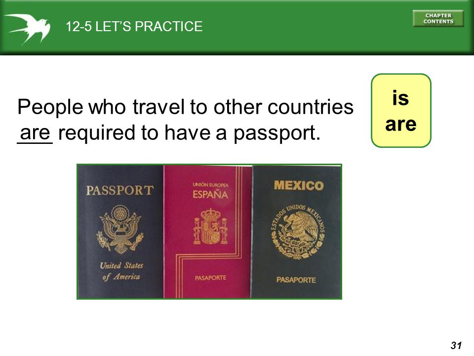 People who travel to other countries ___ required to have a passport.