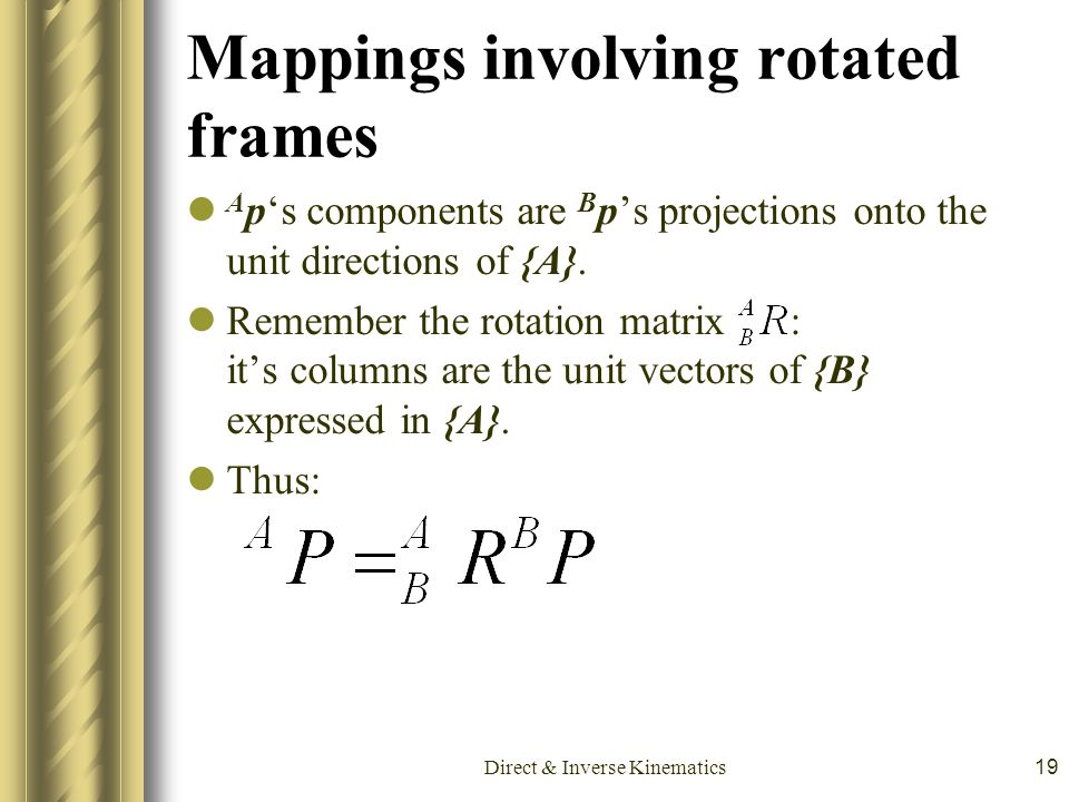 Mappings involving rotated frames