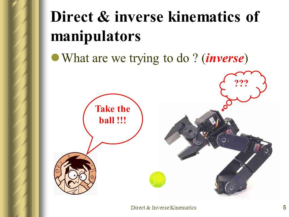 Direct & inverse kinematics of manipulators