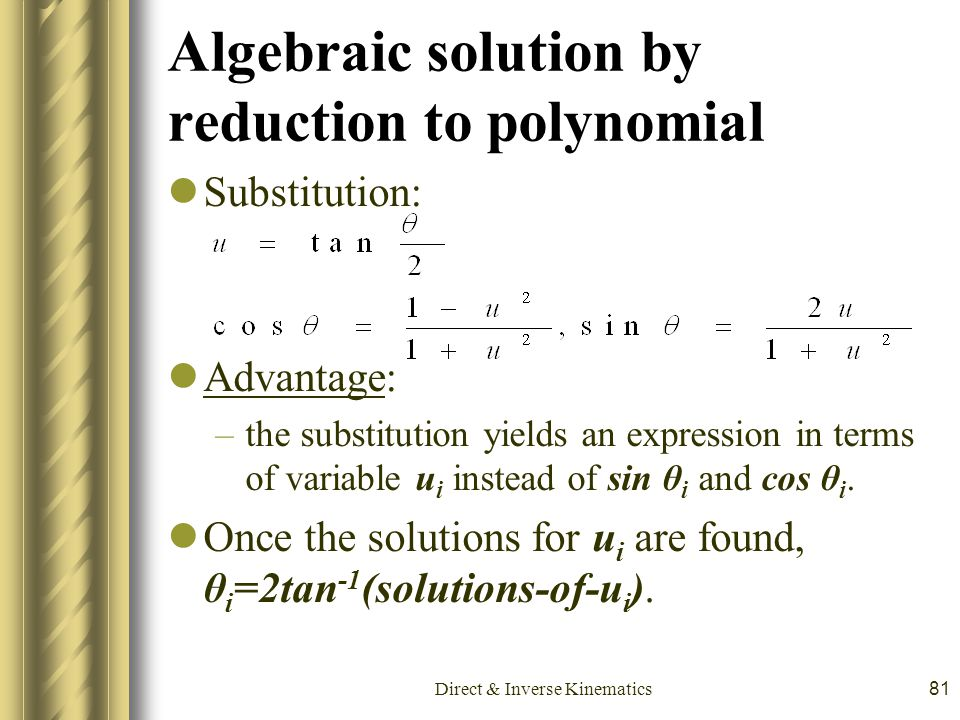 Algebraic solution by reduction to polynomial