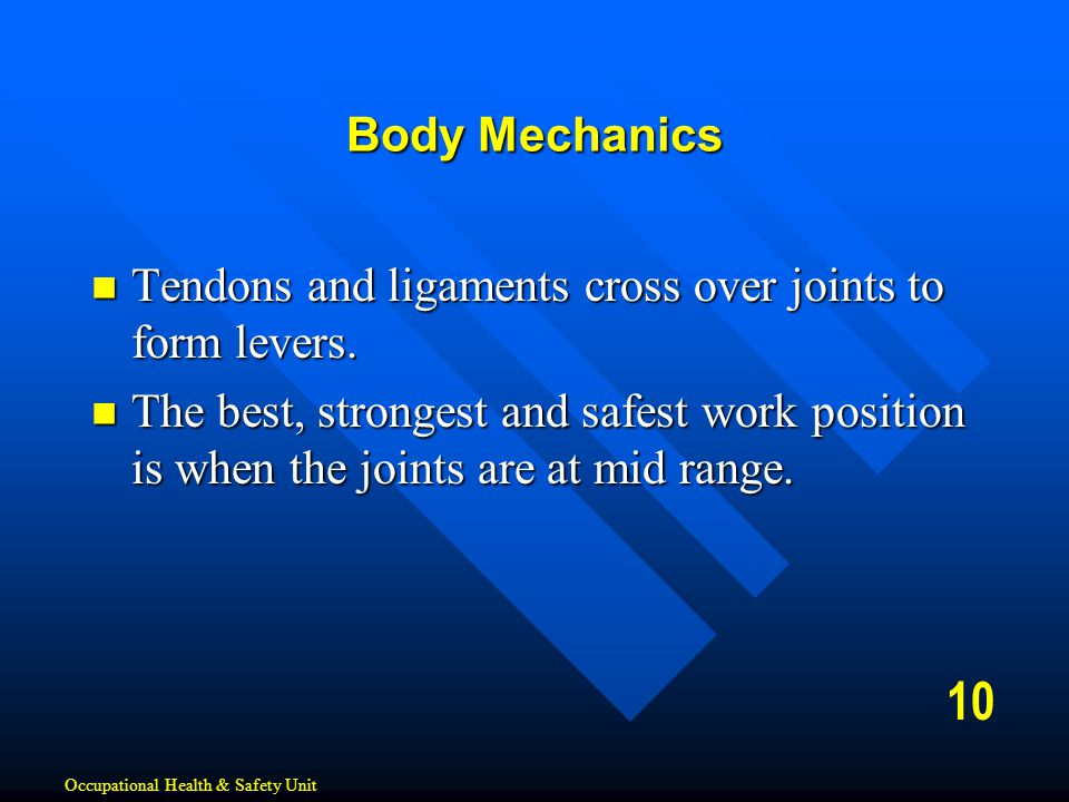 Body Mechanics Tendons and ligaments cross over joints to form levers.