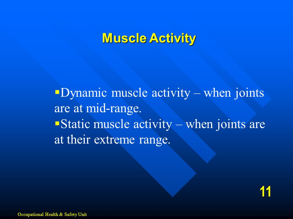 Muscle Activity Dynamic muscle activity – when joints are at mid-range. Static muscle activity – when joints are at their extreme range.