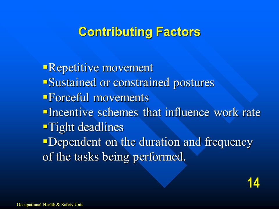 14 Contributing Factors Repetitive movement