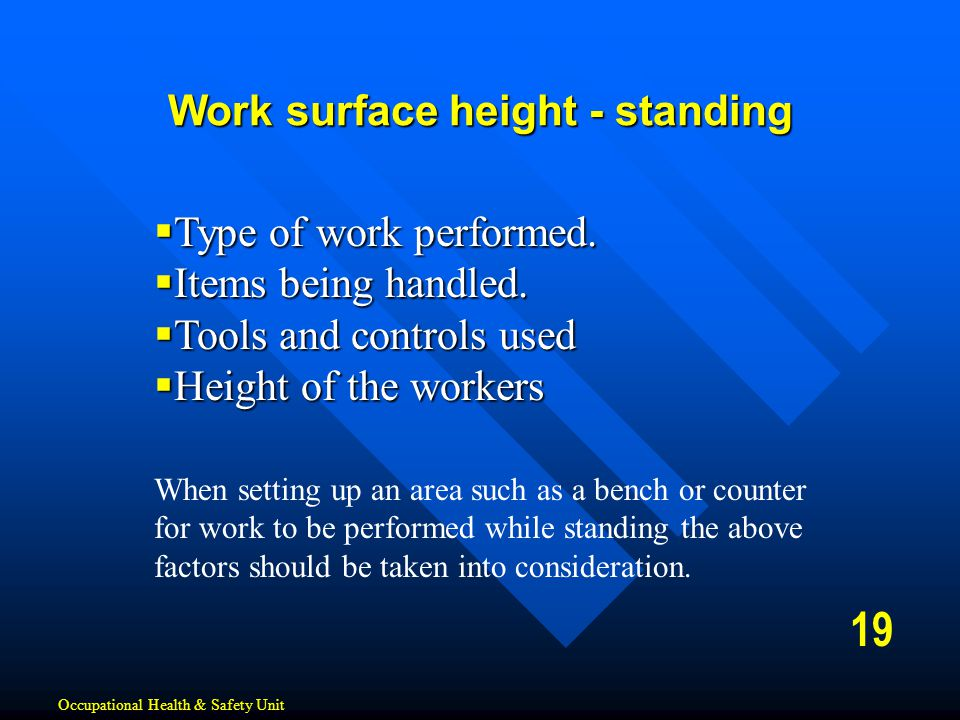 Work surface height - standing
