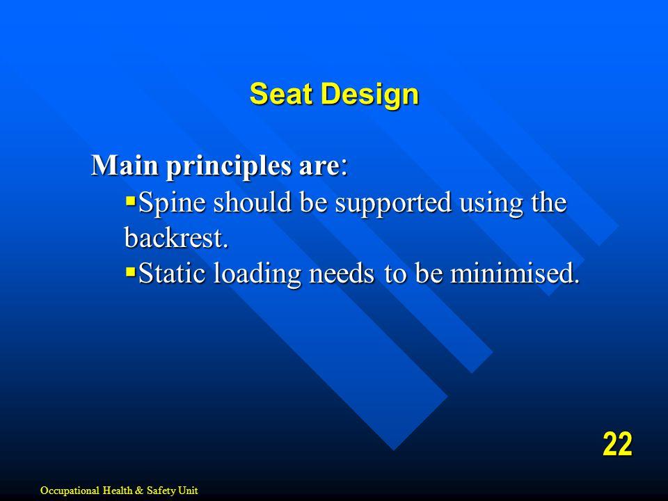 22 Seat Design Main principles are: