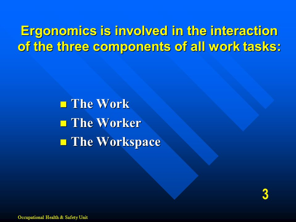 Ergonomics is involved in the interaction of the three components of all work tasks: