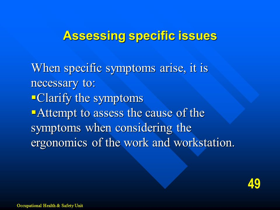 Assessing specific issues