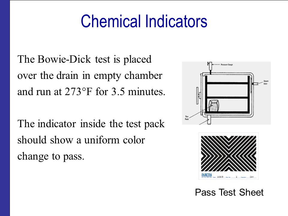 Chemical Indicators The Bowie-Dick test is placed