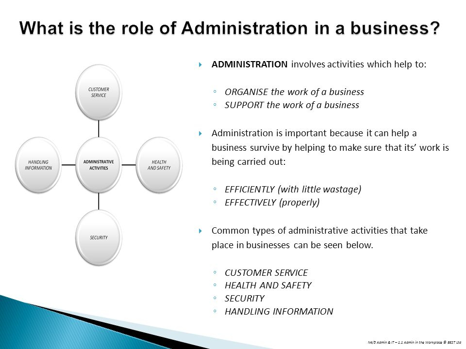 What is the role of Administration in a business