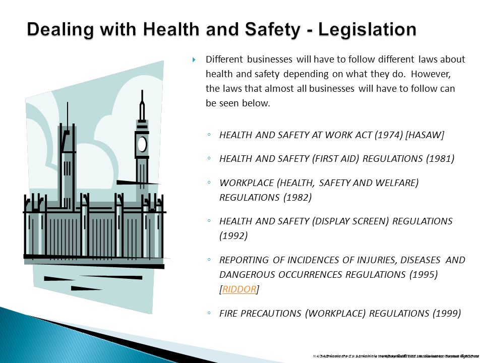 Dealing with Health and Safety - Legislation