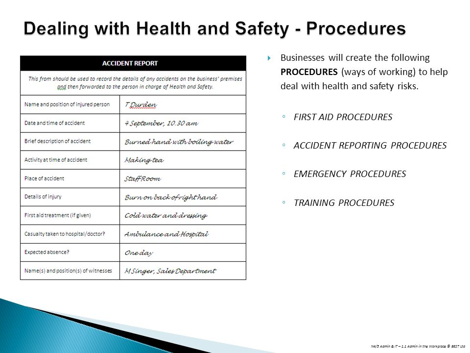 Dealing with Health and Safety - Procedures