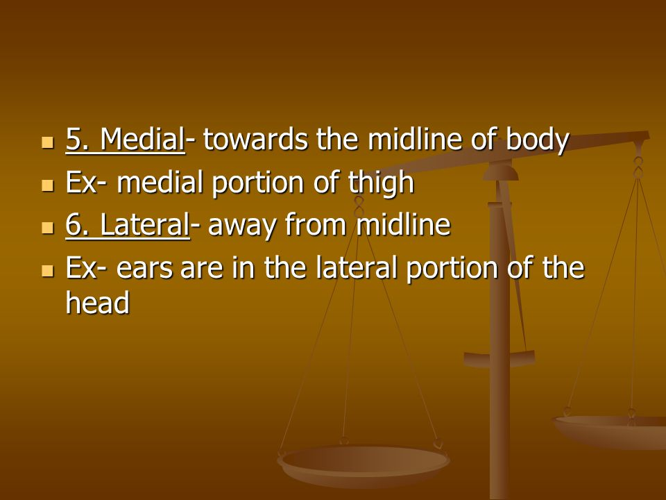 5. Medial- towards the midline of body