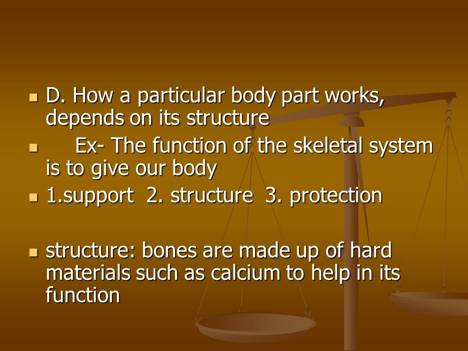 D. How a particular body part works, depends on its structure