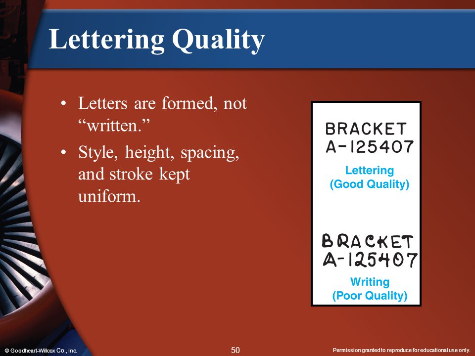 Lettering Quality Letters are formed, not written.