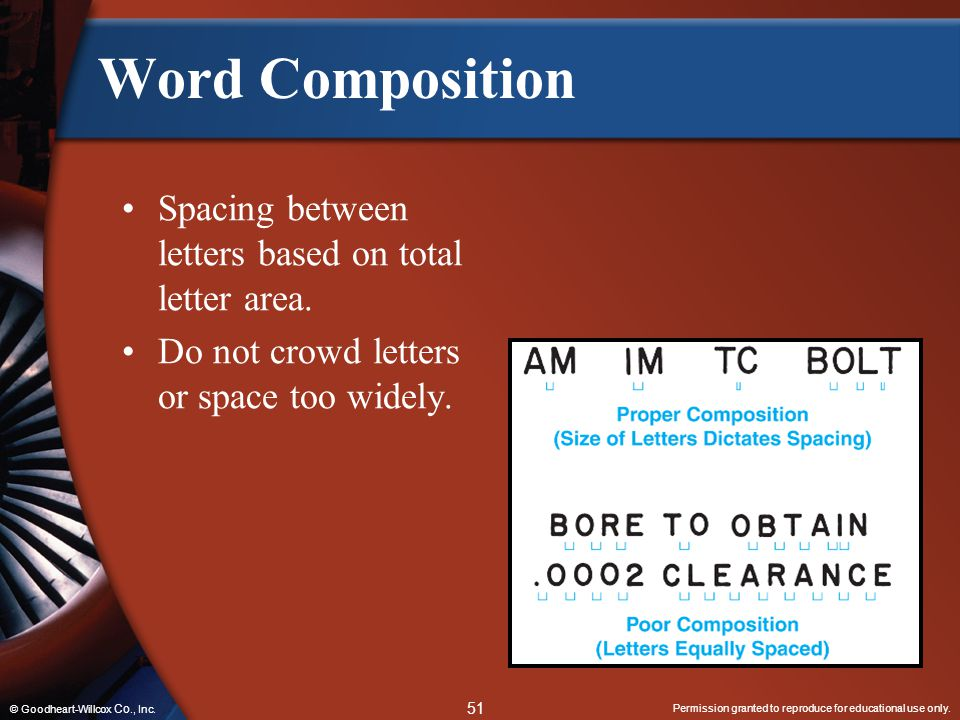 Word Composition Spacing between letters based on total letter area.