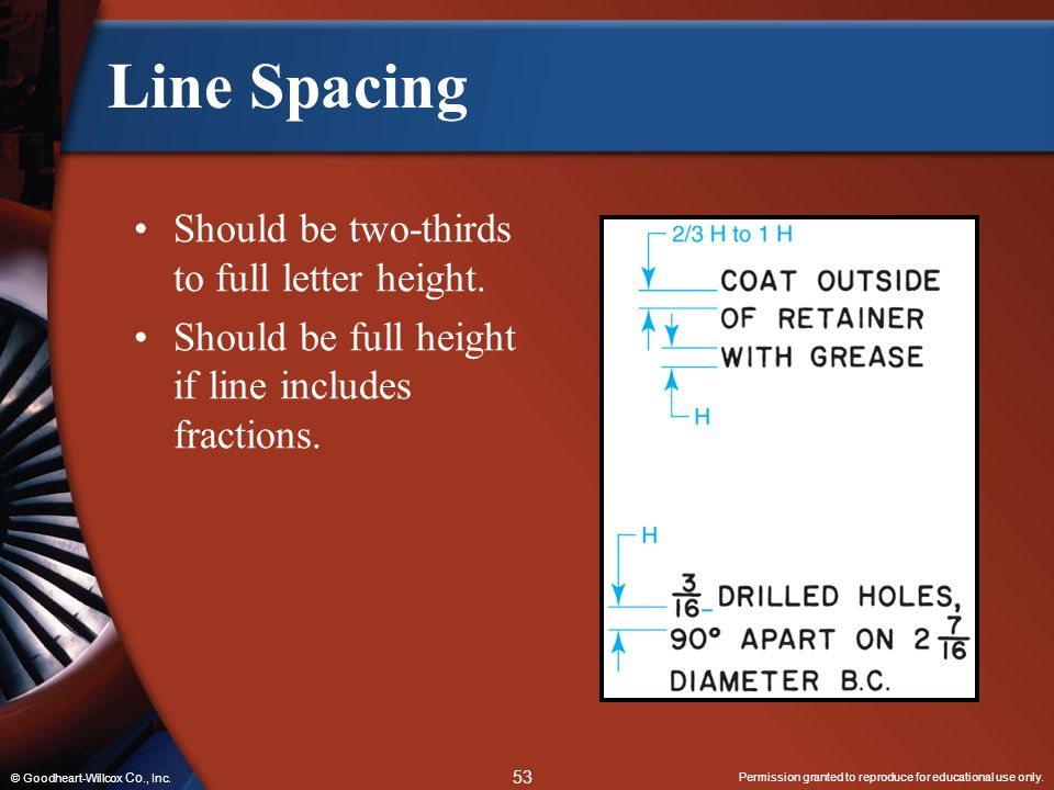 Line Spacing Should be two-thirds to full letter height.