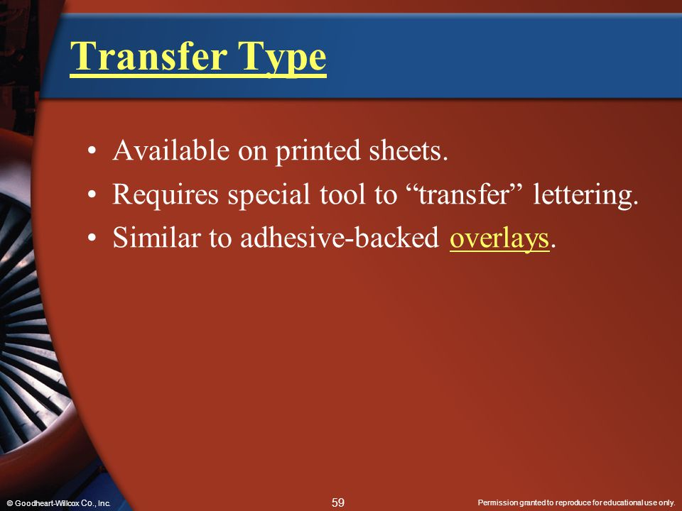 Transfer Type Available on printed sheets.