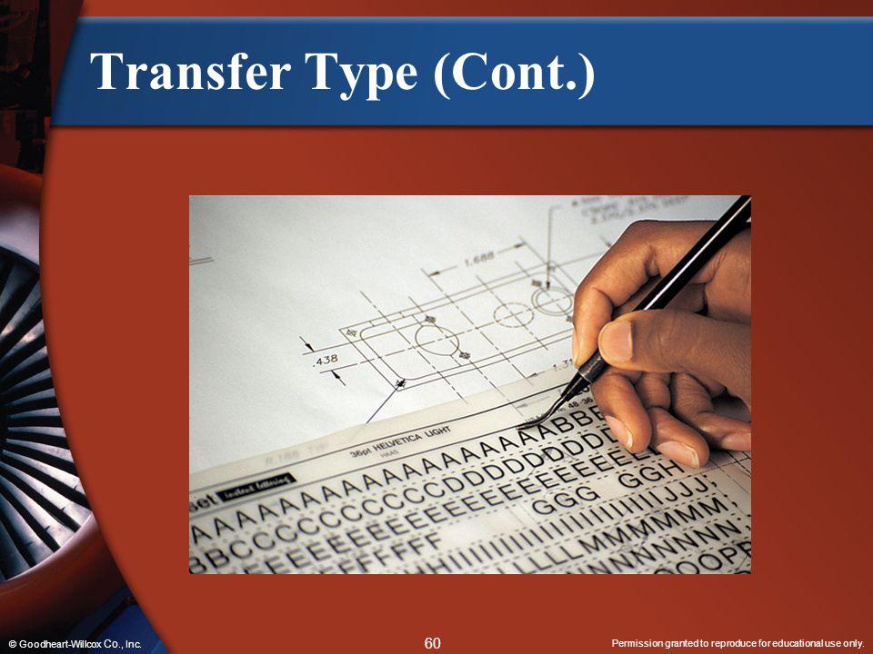 Transfer Type (Cont.) © Goodheart-Willcox Co., Inc.