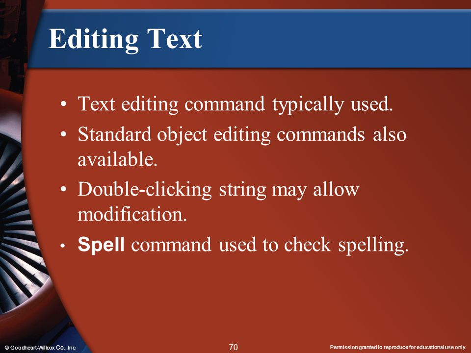 Editing Text Text editing command typically used.