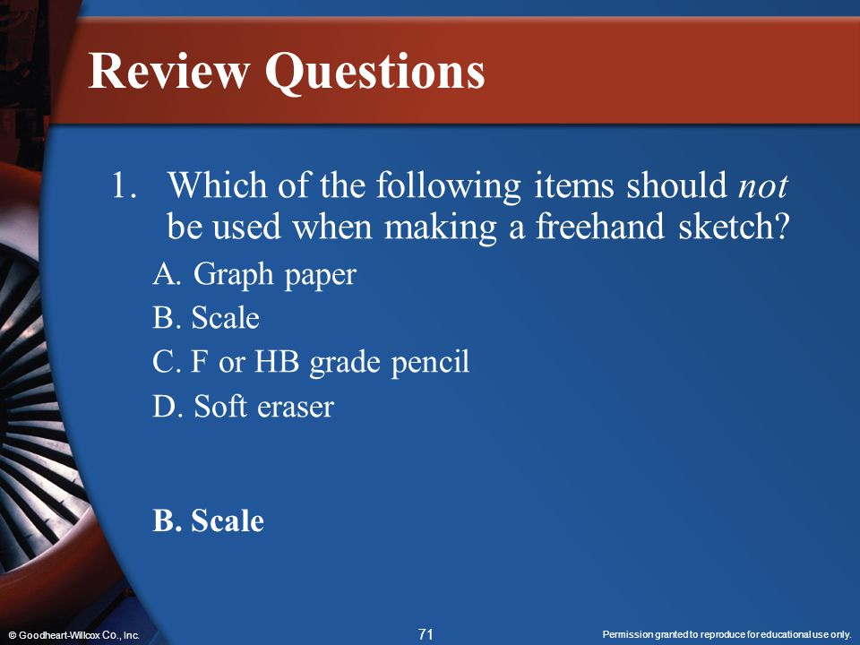 Review Questions 1. Which of the following items should not be used when making a freehand sketch A. Graph paper.