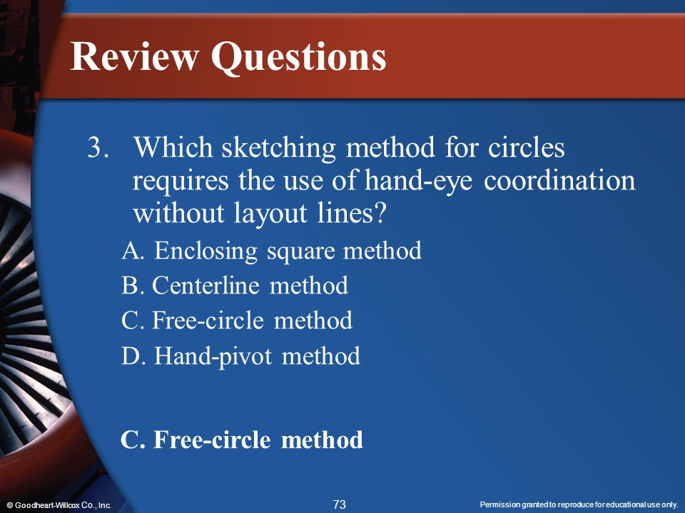 Review Questions 3. Which sketching method for circles requires the use of hand-eye coordination without layout lines