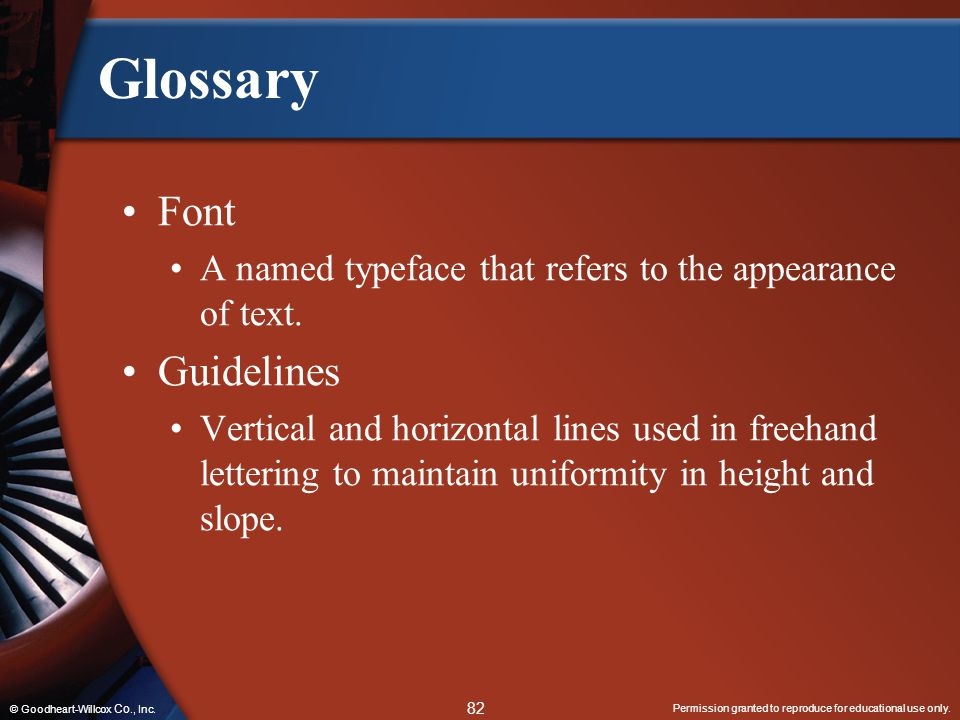 Glossary Font Guidelines