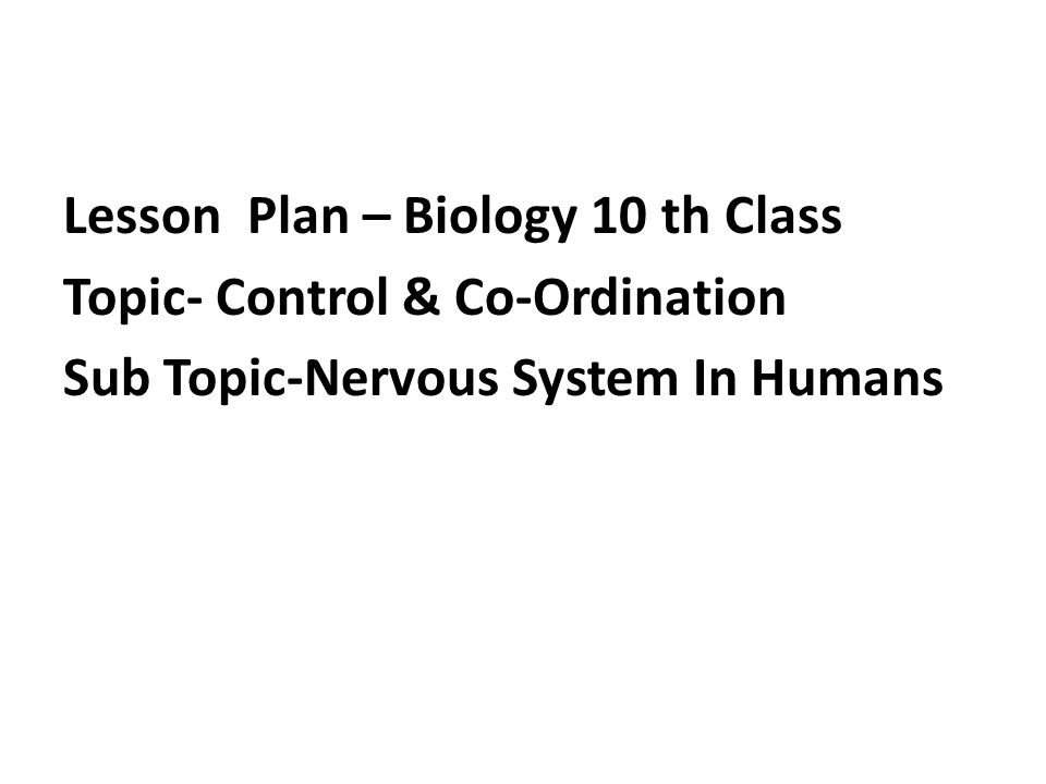 Lesson Plan – Biology 10 th Class Topic- Control & Co-Ordination Sub Topic-Nervous System In Humans