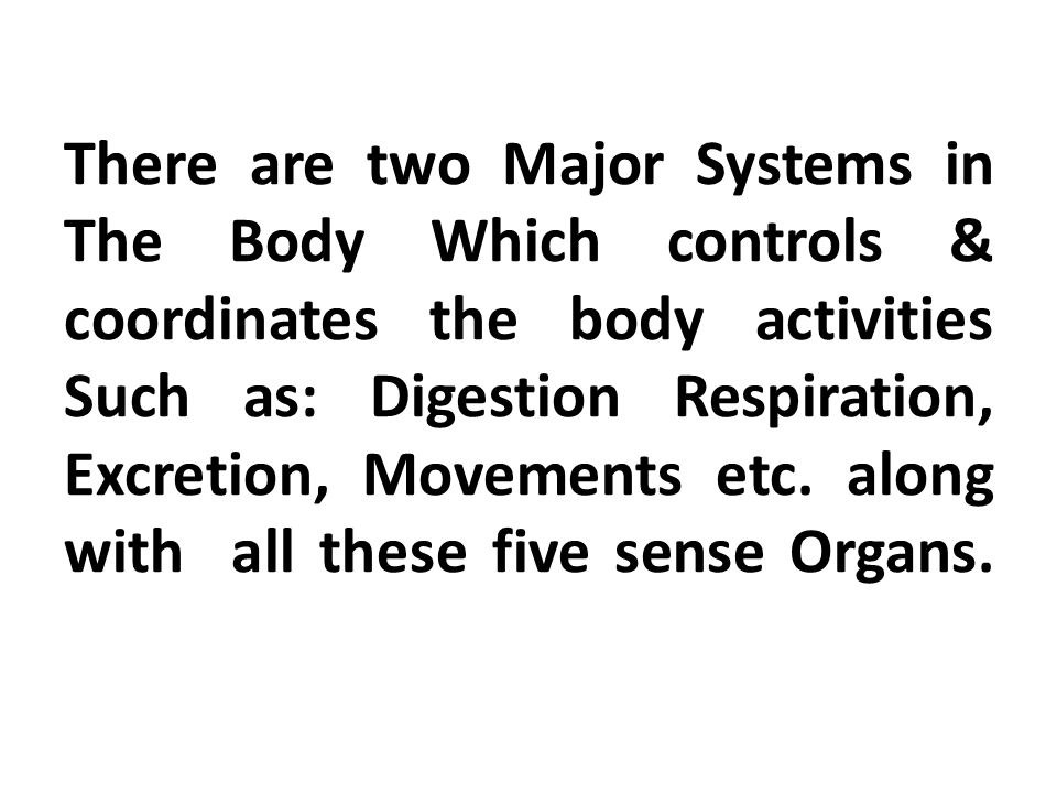 There are two Major Systems in The Body Which controls & coordinates the body activities Such as: Digestion Respiration, Excretion, Movements etc.