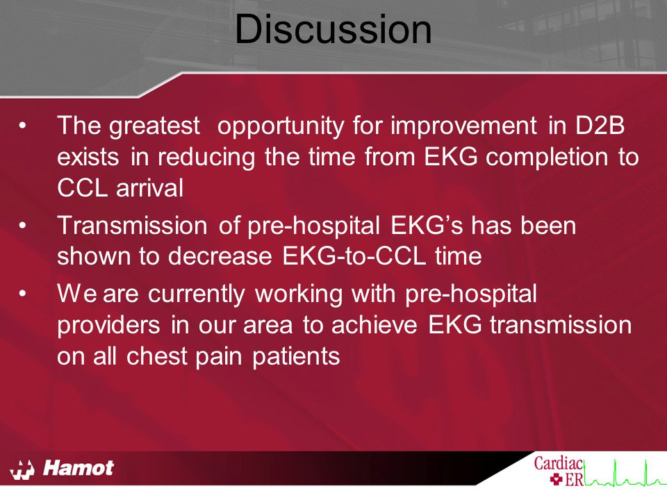 Discussion The greatest opportunity for improvement in D2B exists in reducing the time from EKG completion to CCL arrival.