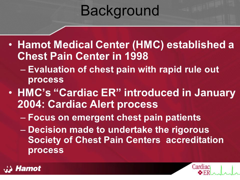 Background Hamot Medical Center (HMC) established a Chest Pain Center in 1998. Evaluation of chest pain with rapid rule out process.