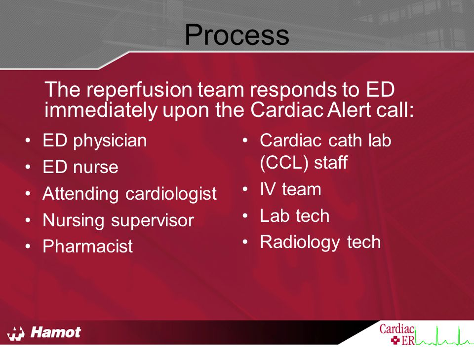Process The reperfusion team responds to ED immediately upon the Cardiac Alert call: ED physician.