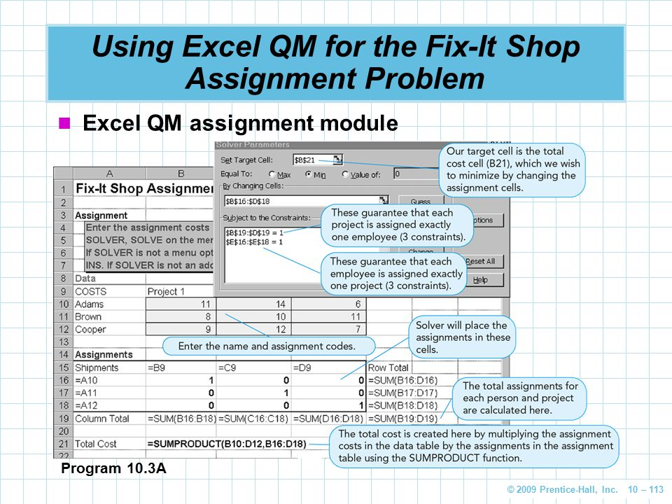 Using Excel QM for the Fix-It Shop Assignment Problem