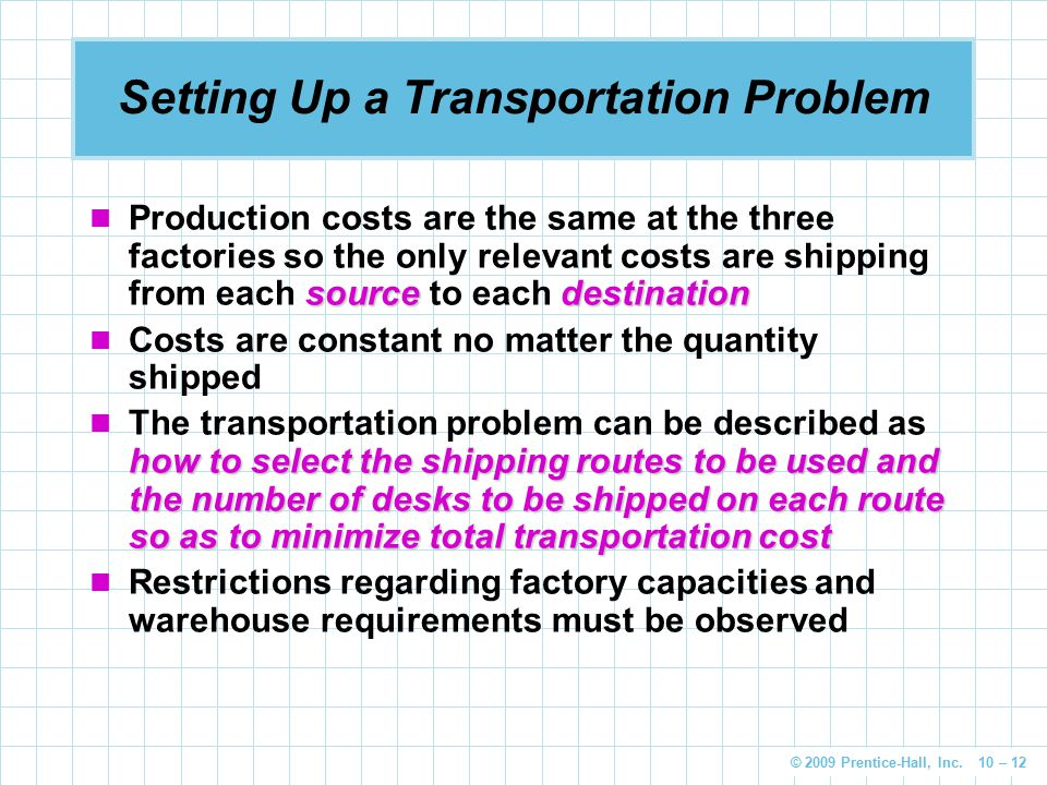 Setting Up a Transportation Problem