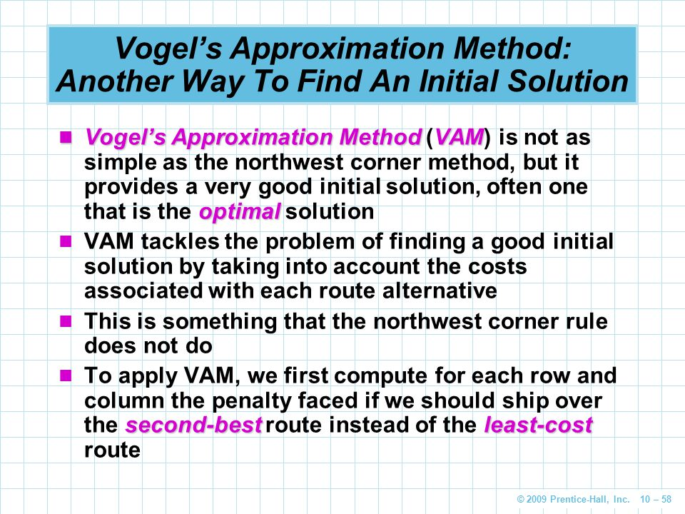 Vogel's Approximation Method: Another Way To Find An Initial Solution