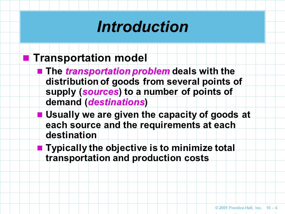 Introduction Transportation model