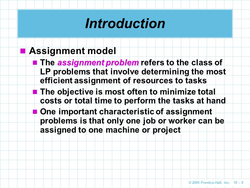 Introduction Assignment model