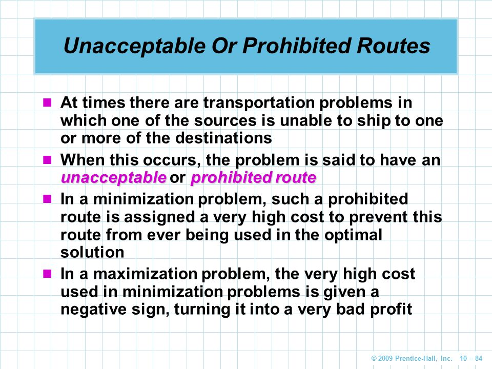 Unacceptable Or Prohibited Routes