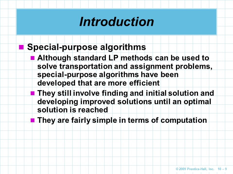 Introduction Special-purpose algorithms