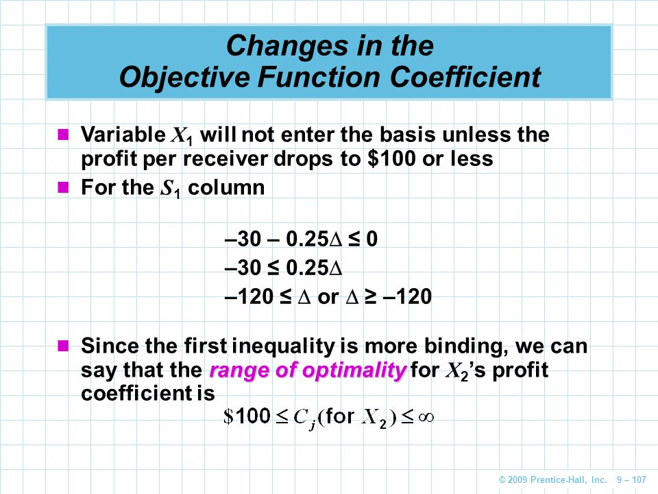 Changes in the Objective Function Coefficient