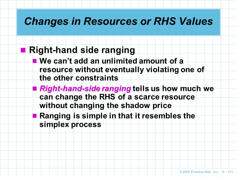 Changes in Resources or RHS Values