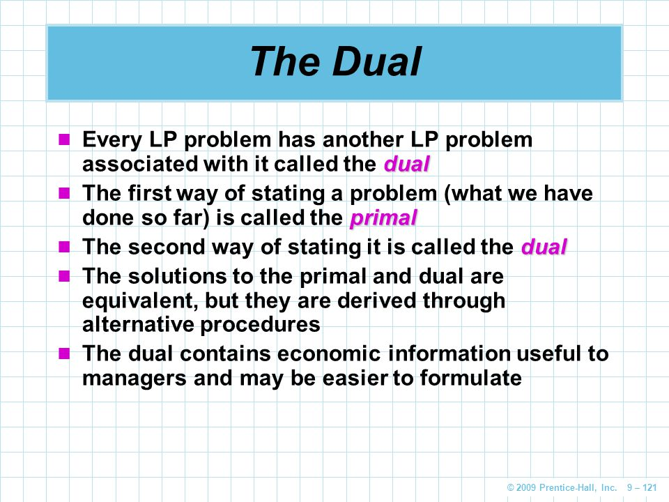 The Dual Every LP problem has another LP problem associated with it called the dual.