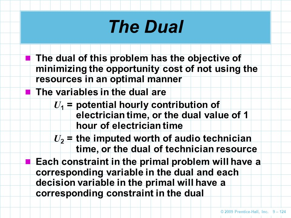 The Dual The dual of this problem has the objective of minimizing the opportunity cost of not using the resources in an optimal manner.