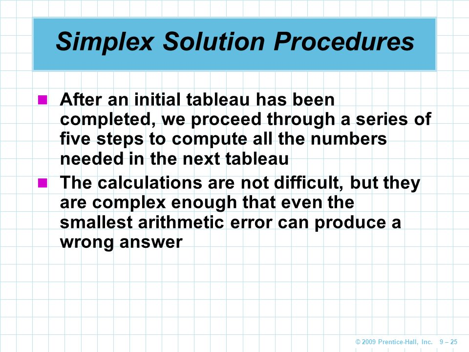 Simplex Solution Procedures