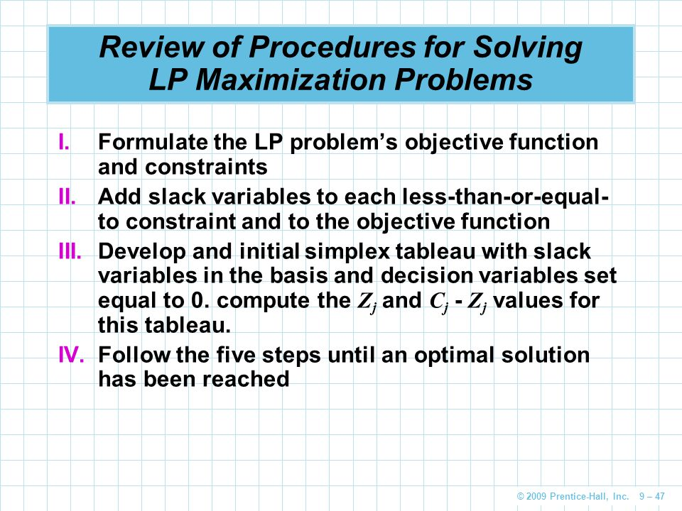 Review of Procedures for Solving LP Maximization Problems