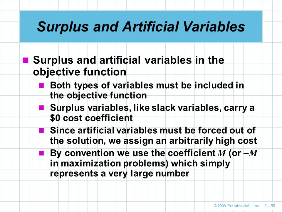 Surplus and Artificial Variables